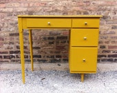 Petite Mid Century Desk In Mustard Yellow