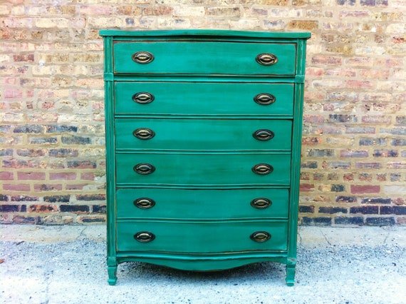 Vintage Dresser In Emerald Green RESERVED FOR RACHEL