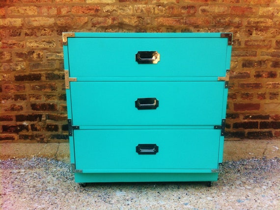 Vintage Campaign Dresser In Chevy Blue