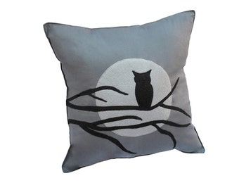 Owl Moon and Tree Branch Silhouette  Gray Felt Pillow