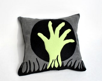 Zombie Hand Pillow- Halloween Home Decor- Ready to Ship- Grey Ultra suede- Appliqued Felt Cushion