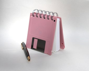 Floppy Disk Notebook - Geek Book - Recycled Computer Diskette - Mauve Pink