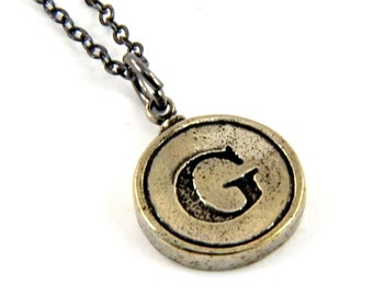 Letter G Necklace - White Bronze Initial Typewriter Key Charm Necklace - Gwen Delicious Jewelry Design GDJ