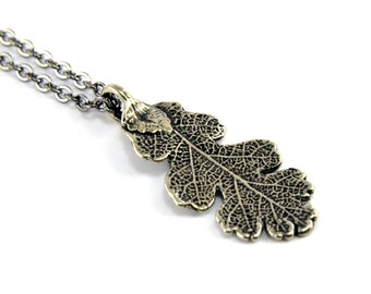 Two for One Sale....Oak Leaf Necklace - White Bronze