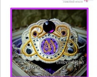 Dazzling Diadem Monogram Princess Tiara - in the hoop- Instant Download