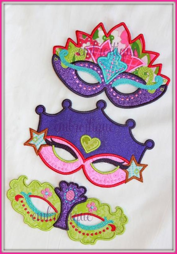 Princess Mask set - Halloween - Mardi Gras -  In the hoop - Instant Download -Digital Machine Embroidery Design