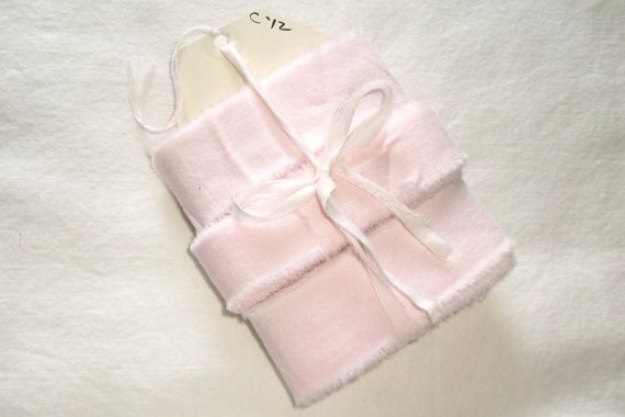Hand Torn Vintage Pink Cotton Ribbon . . . 12 yards X 1 1/4 & 1 inch wide