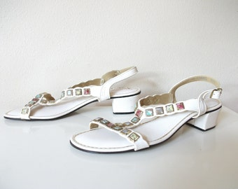 Bejeweled T-Strap 60s White Leather Sandles, Size 7