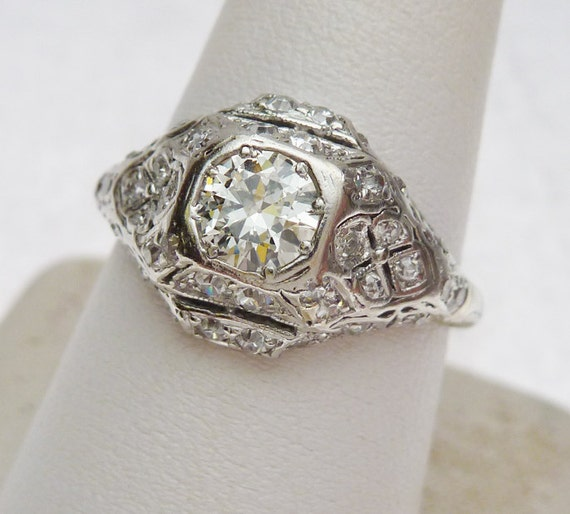Platinum Antique Diamond Engagement Ring by KlinesJewelry on Etsy