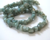 Vintage Genuine Light Green Jade Nuggets Long Necklace