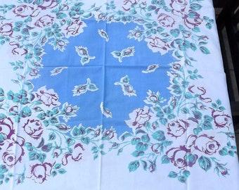 1950's Floral Tablecloth - Blues