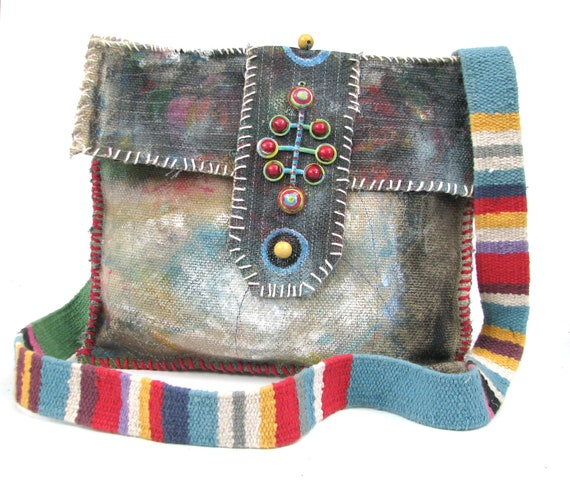 Upcycled Bag Handpainted Tribal One of a Kind Cross the Body Style
