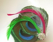 Peacock Hair Clip FRESH SPRING Feather and Rhinestone Wedding Hair Fascinator Clip Bridal party