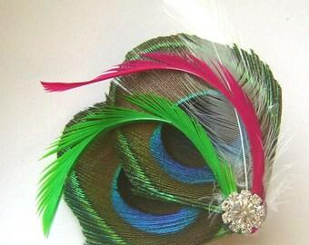 Peacock Hair Clip FRESH SPRING Feather and Rhinestone Wedding Hair Fascinator Clip Bridal party