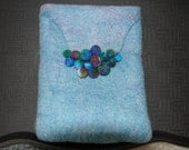 Handmade merino wool wet felted clutch bag, blue,green,turquoise,multicolored