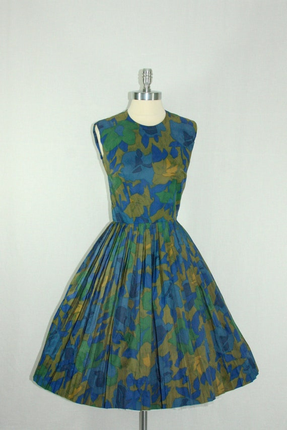 1950's Vintage Dress - Blue Green and Brown Full Pleated Skirt Frock