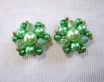 Vintage Earrings Clip On Green Beads Gold Tone Round Stamped Hong Kong Retro Costume Jewelry