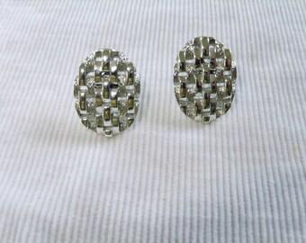 Vintage Earrings Screw Back Signed Coro Silvertone Oval Designer Costume Jewelry