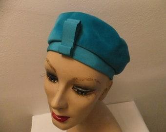 Vintage Hat Pillbox Lovemans McHenrys Nashville Blue Velour Retro Accessories