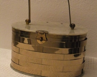 Vintage Purse Goldtone Metal Basket Weave Oval with Pearl Lucite Lid and Bottom Gold Tone