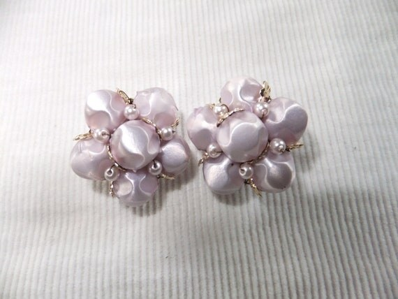 Vintage Clip On Earrings Japan Lavendar Beads Costume Jewelry Gold Tone Stamped