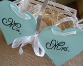 Mr and Mrs Turquoise Teal Blue Hearts Chair Hangers or You Choose Color  Weddings Photo Prop Bling Silver Diamond