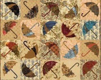 Dancing Umbrella Pieced Applique Laundry Basket Quilt Pattern