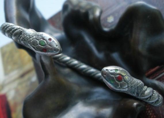 Snake Bracelet Twisted Silver Metal