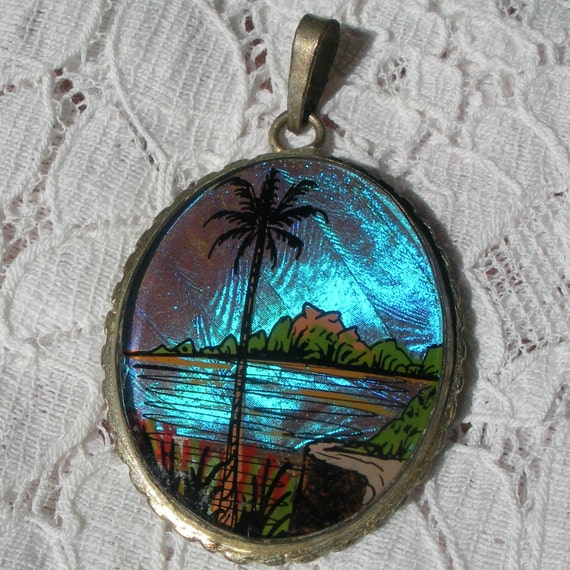 Butterfly Wing Pendant with Painted Tropical Scene