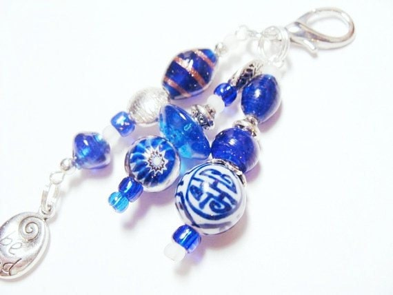 "Silver ""Be Kind"" Charm with Cobalt Blue and White Beads - Keychain or Bag/Purse Charm  (KC 4046)"