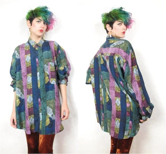 90s Striped Sketch Print NOS Mens Silk Shirt (L)