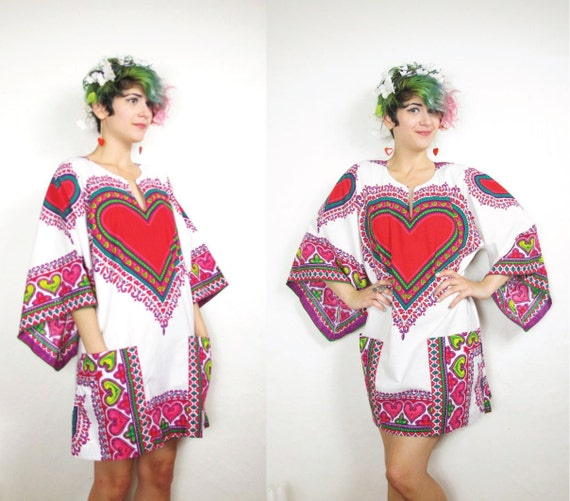 Summer of Love Hippie Mini Dress with Angel Sleeves (S/M)