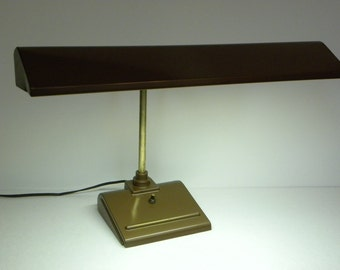 Vintage Industrial Desk Lamp -- Copper Painted Metal Florescent light with heavy Base-Working Condition