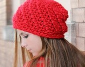 Red Beanie Hat, Hand Crochet Chunky Winter Hat, Cute Hats for Teen Girl or Women, Gifts for Teenagers, Chunky Beanie, Red Hat, Skull Cap