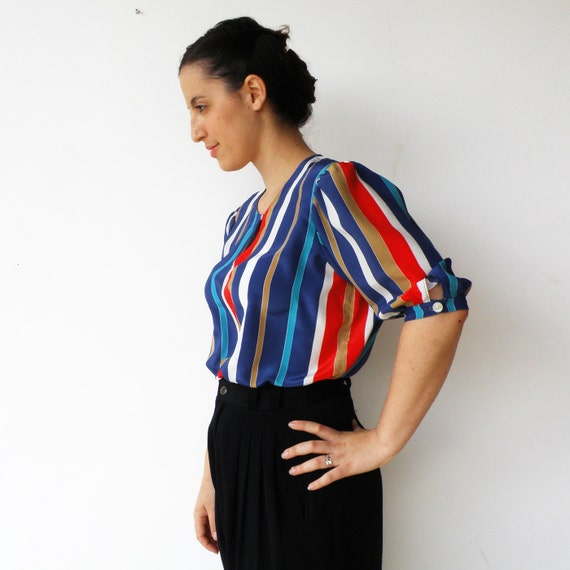 Vintage 1970s Striped Shirt / Loose Circus Silk Blouse / Size L