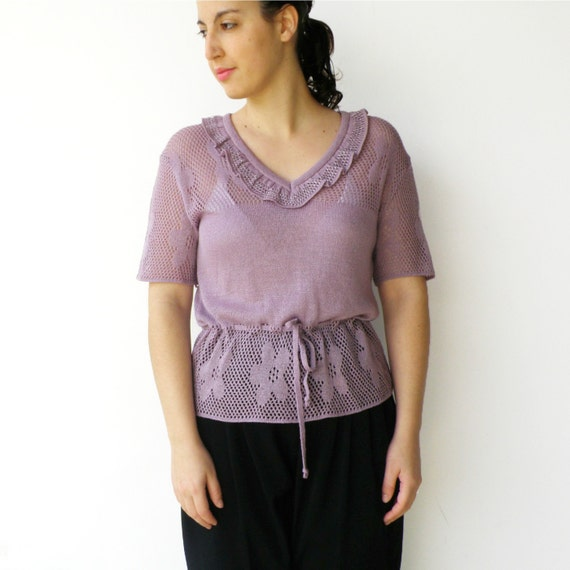 Vintage Purple Sweater /  Lavender and Silver Ruffled Knit Top / Size M L