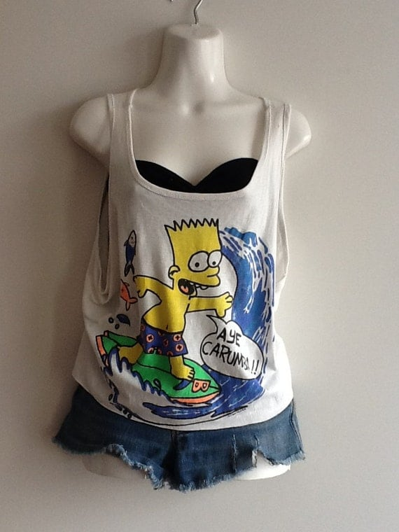 classic vintage 90's Bart Simpson AYE CARUMBA summer tank top shirt