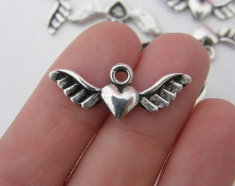 BULK 50 Heart with wings  charms antique silver tone AW6