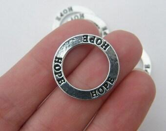4 Hope pendants silver tone M344