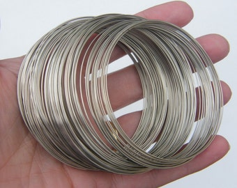200 Loops memory wire 65 - 70mm silver tone 11248