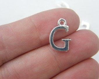 8 Letter G alphabet charms silver plated