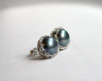 Black pearl earrings, silver crochet studs, pearl stud earrings -  grey pearls in pictures no longer available