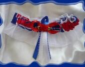 White Organza Wedding Keepsake Garter Made with New York Rangers Fabric~~SALE~~
