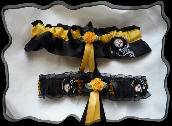 Pittsburgh Steelers Satin Flower Fabric Wedding Garter Set