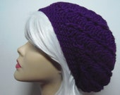 Eggplant Purple Tam Baggy Beanie Loose Pinwheel Slouch Hat Beret ( or choose any color)