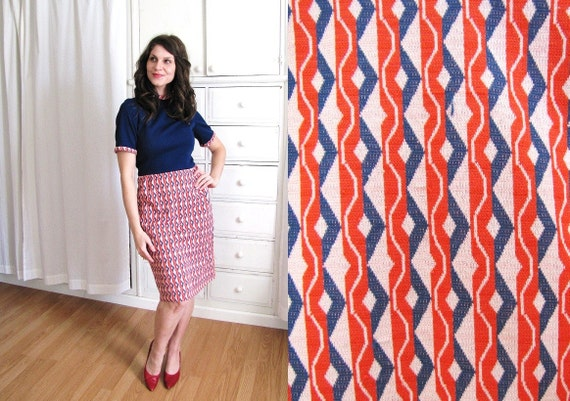 Vintage 1960s Dress / 60's Mod Dress / Red White and Blue Wiggle Dress