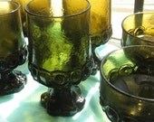 Tiffin Franciscan Citron Green Goblets and Sherbet Cups Set of 9