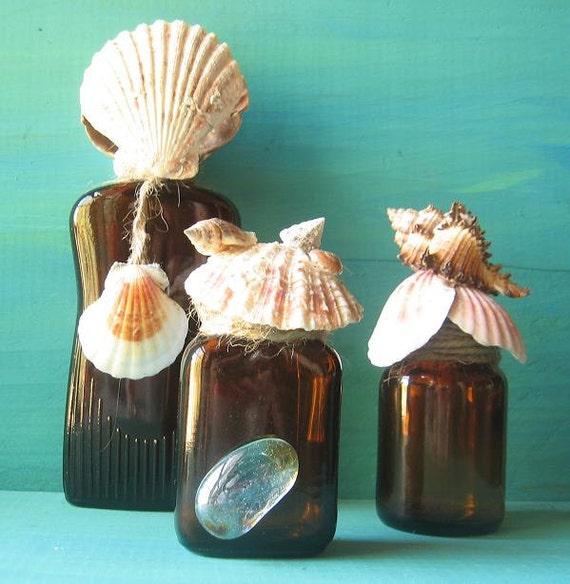 Beach bottles,Beach,Shells,Home Decor,Coastal Decor