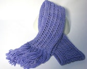 Hand Knit Scarf Periwinkle Malabriego Wool Knit Scarf, Winter Scarf, Fashion Scarf, Purple Scarf, Fiber Art, Womens Scarf