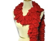 Red Scarf, Red Ruffle Scarf, Hand Knit Scarf, Knit Scarf, Womens Scarf, Fashion Scarf, Lacy Scarf, Fiber Art Scarf, Knitted Scarf